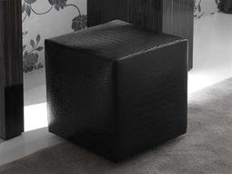 Rossetto Nightfly Black Crocodile Leather Pouf