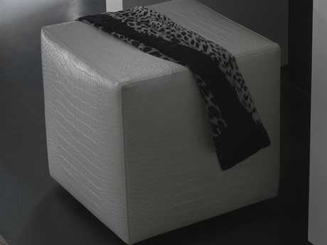 Rossetto Nightfly White Crocodile Leather Pouf