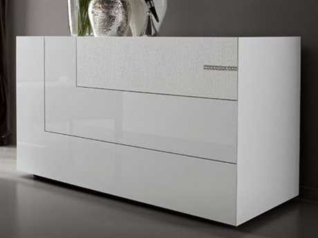 Rossetto Diamond White Glossy & Crocodile Leather Dresser with Swarovski Crystal Insert
