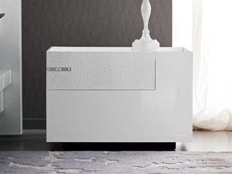 Rossetto Diamond White Glossy & Crocodile Leather Right Side Nightstand with Swarovski Crystal Insert