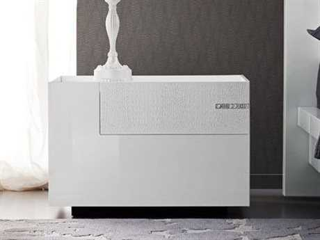 Rossetto Diamond White Glossy & Crocodile Leather Left Side Nightstand with Swarovski Crystal Insert