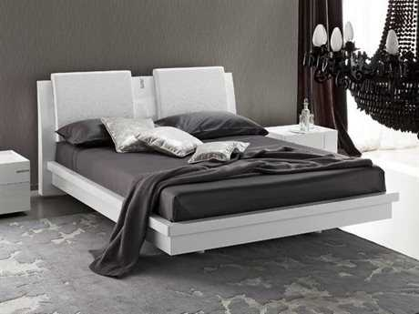 Rossetto Diamond White Glossy King Size Platform Bed