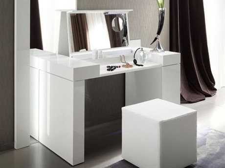 Rossetto Diamond White Glossy & Crocodile Leather Dressing Table