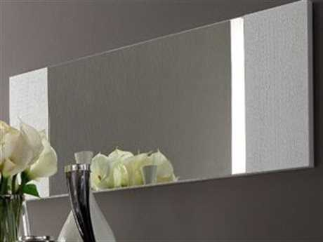 Rossetto Diamond 47'' x 20'' White Crocodile Leather Wall Mirror
