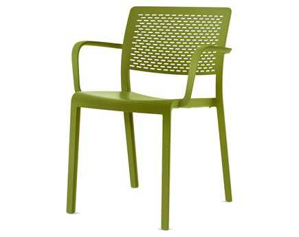 Resol Trama Recycled Plastic Green Olive Arm Chair