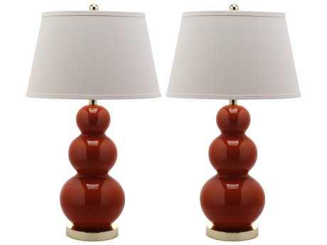 Safavieh Pamela Triple Gourd Blood Orange Table Lamp (2 Piece Set)