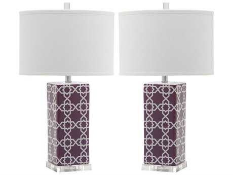 Safavieh Quatrefoil Light Purple Table Lamp (2 Piece Set)
