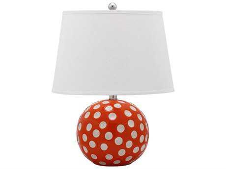 Safavieh Polka Dot Circle Orange & White Table Lamp (2 Piece Set)