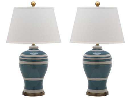 Safavieh Pottery Stripe Ginger Blue Table Lamp (2 Piece Set)