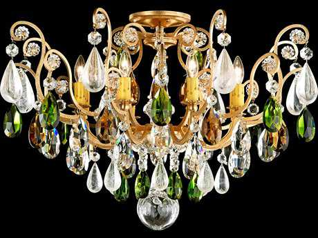 Schonbek Renaissance Rock Crystal Eight-Light Semi-Flush Mount Light