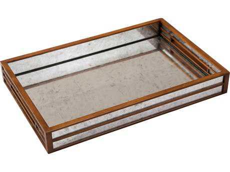 Sarreid Walnut & Eglomise Silver Leaf Glass Medium Table Top Tray