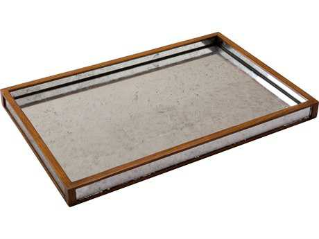 Sarreid Walnut & Eglomise Silver Leaf Glass Large Table Top Tray