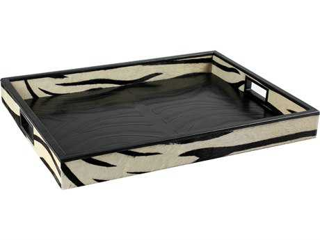 Sarreid Zebra Leather Tray