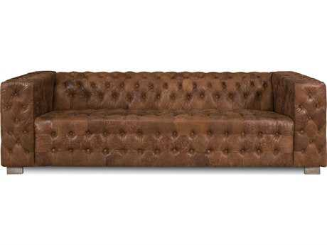 Sarreid Brown Leather Pelly Tufted Sofa