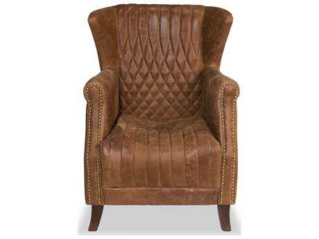 Sarreid Hand Rubbed Tan Leather Morgan Arm Club Chair