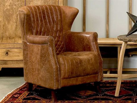 Sarreid Hand Rubbed Tan Leather Morgan Arm Club Chair