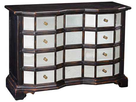 Sarreid Ebonized Rub 60''W x 24''D Four Drawer Accent Chest Cabinet