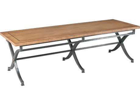 Sarreid Wrought Iron & Light Chesnutt 72''W x 25''D Rectangular Sloane Cocktail Table