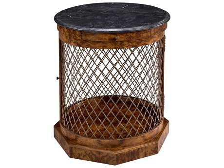 Sarreid Tuscan Walnut & Acid Wash Stone 24'' Round Merin Drum Table