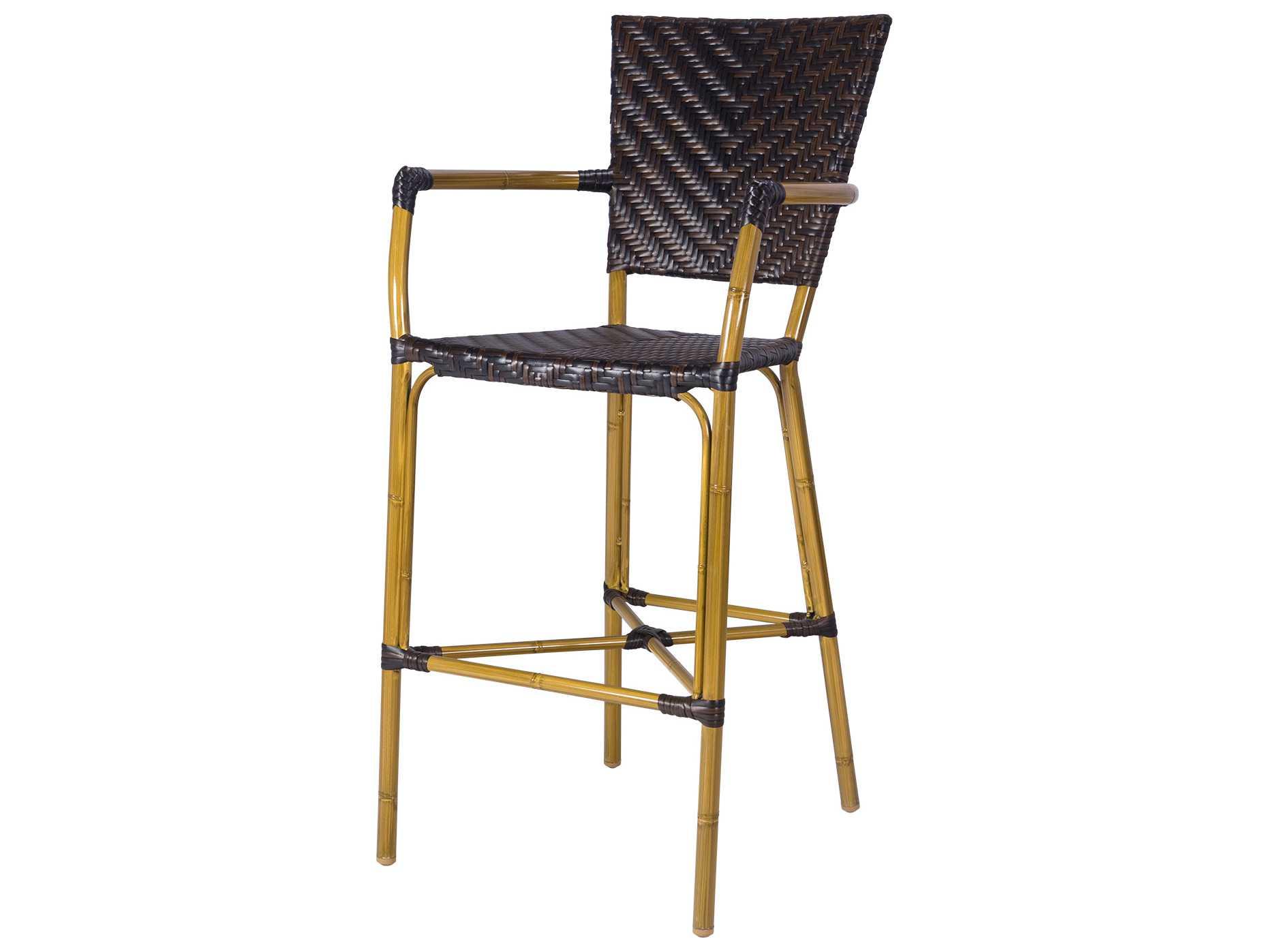 Source outdoor furniture capri wicker bar arm chair for Source outdoor furniture