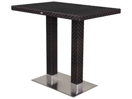Source Outdoor Furniture Arizona Wicker 48 x 32 Rectangular Bar Table