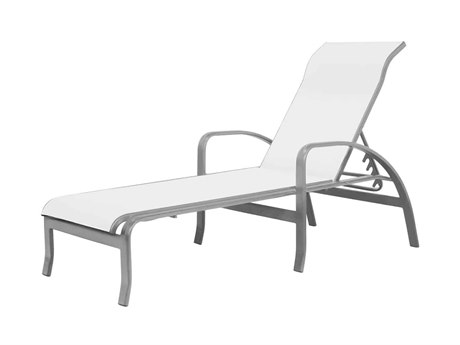 Source Outdoor Furniture Atlantic Aluminum Sling Stackable Chaise Lounge with Arms