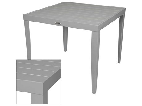 Source Outdoor Furniture South Beach Aluminum 32''Wide Square Dining Table with Umbrella Hole