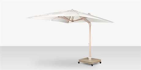 Source Outdoor Furniture The Grand Cantilever Wood Grain 10' Foot Square Umbrella with Sandlewood Base