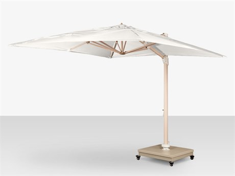 Source Outdoor Furniture The Grand Cantilever Wood Grain 13' Foot Center Pole Round Umbrella with Sandlewood Base