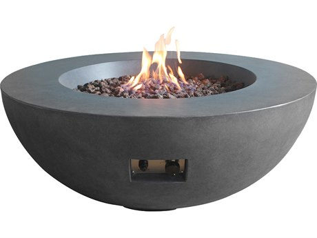 Source Outdoor Furniture Elements Gray 42'' Wide Concrete Round Fire Pit Table
