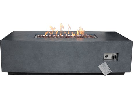 Source Outdoor Furniture Elements Gray 55'' Wide Concrete Rectangular Fire Pit Table