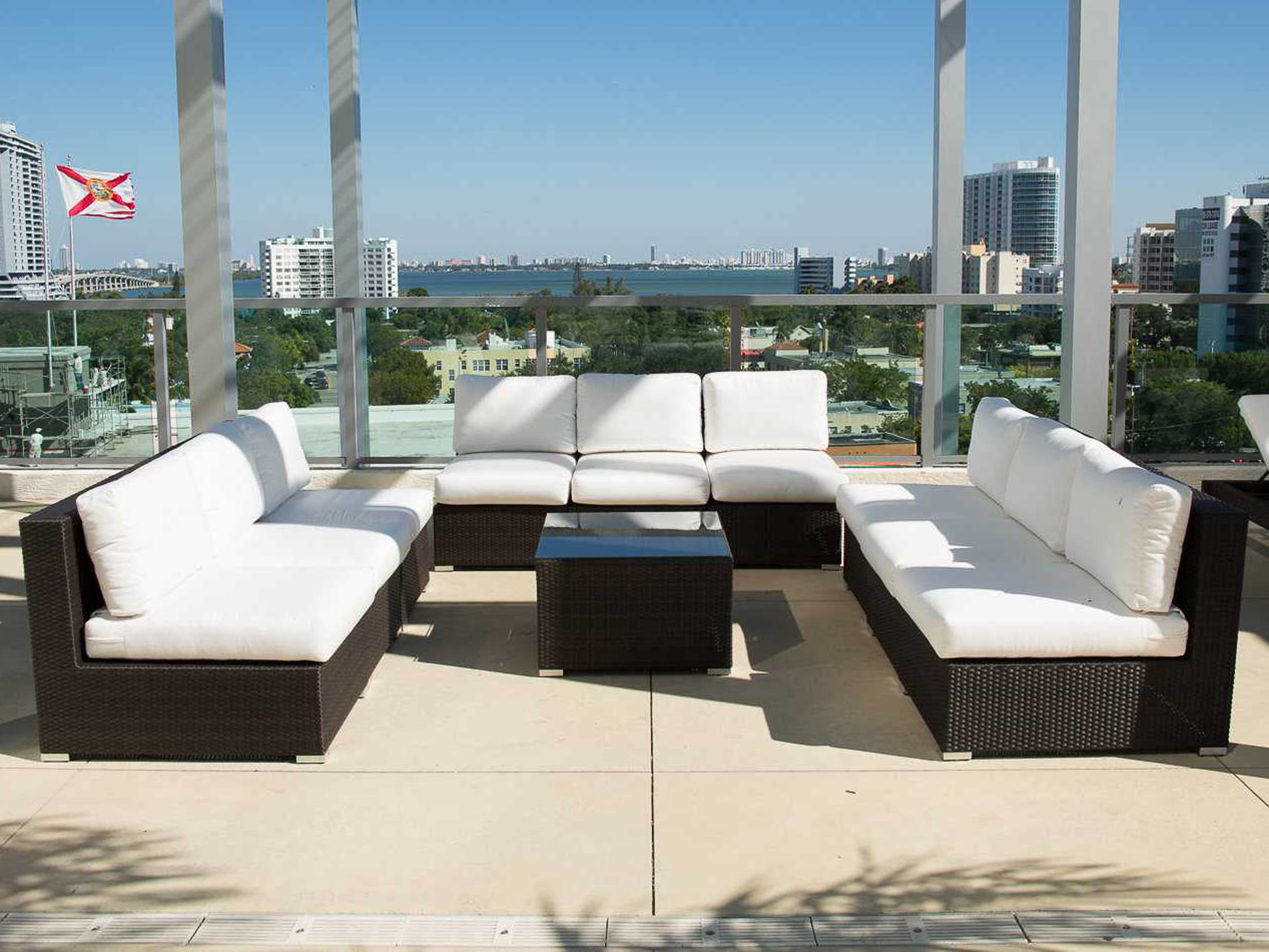 source outdoor furniture manhattan wicker sectional lounge set so