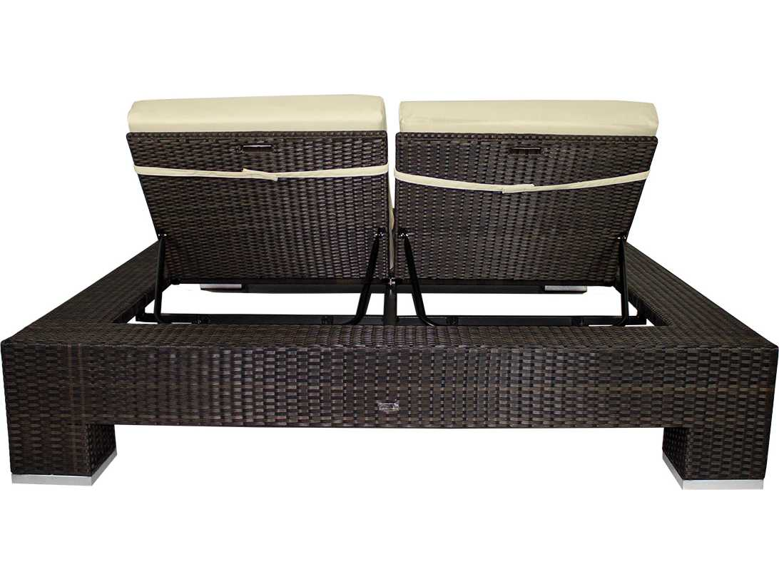 Source outdoor furniture king wicker armless double chaise for Source outdoor furniture