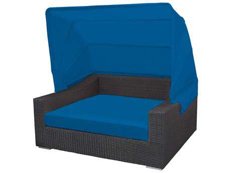 Source Outdoor Furniture King Wicker Rectangular Day Bed with Canopy