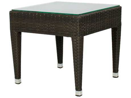 Source Outdoor Furniture Zen Wicker 20''Wide Square Frosted Top End Table PatioLiving