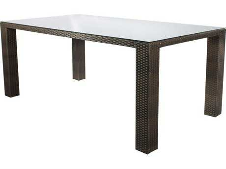 Source Outdoor Furniture St. Tropez Wicker 72 x 40 Rectangular Dining Table