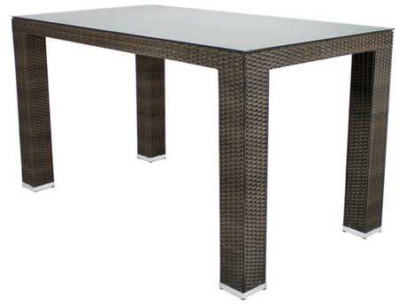 Source Outdoor Furniture St. Tropez Wicker 72 x 40 Rectangular Bar Table