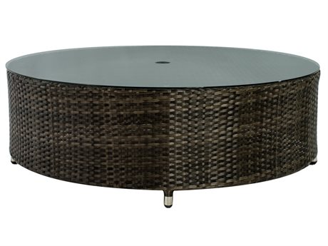 Source Outdoor Furniture Circa Wicker 47 Round Coffee Table with Hole SCSF2006321