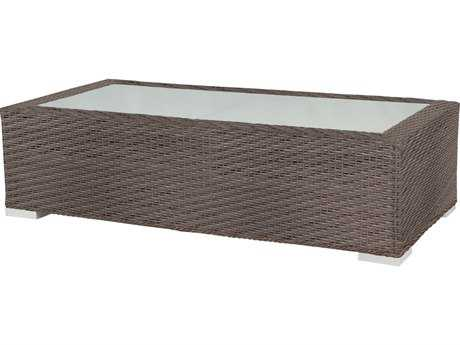 Source Outdoor Furniture Lucaya Wicker 48 x 24 Rectangular Coffee Table
