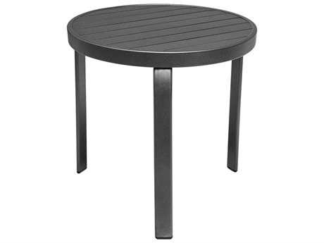Source Outdoor Furniture Atlantic Aluminum 20''Wide Round Slatted Top End Table PatioLiving