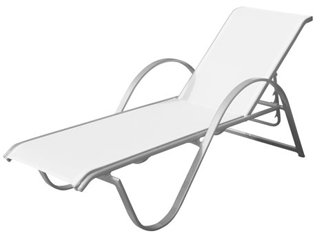 Source Outdoor Furniture Lanai Aluminum Sling Stackable Chaise Lounge PatioLiving