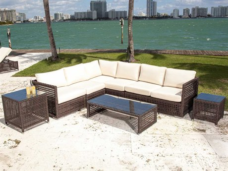 Source Outdoor Furniture Matterhorn Wicker Sectional Lounge Set