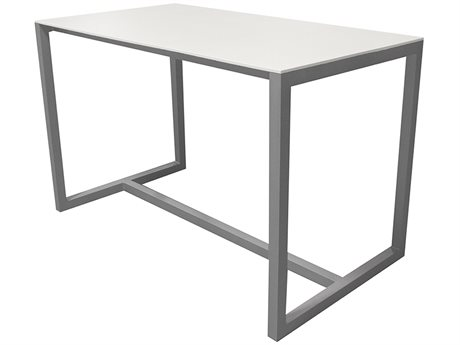Source Outdoor Furniture Modera 66'' Wide Aluminum Rectangular Bar Table