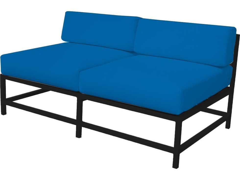 Source outdoor furniture delano aluminum armless loveseat for Source outdoor furniture