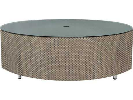 Source Outdoor Furniture Circa Wrap Aluminum 47 Round Coffee Table with Umbrella Hole