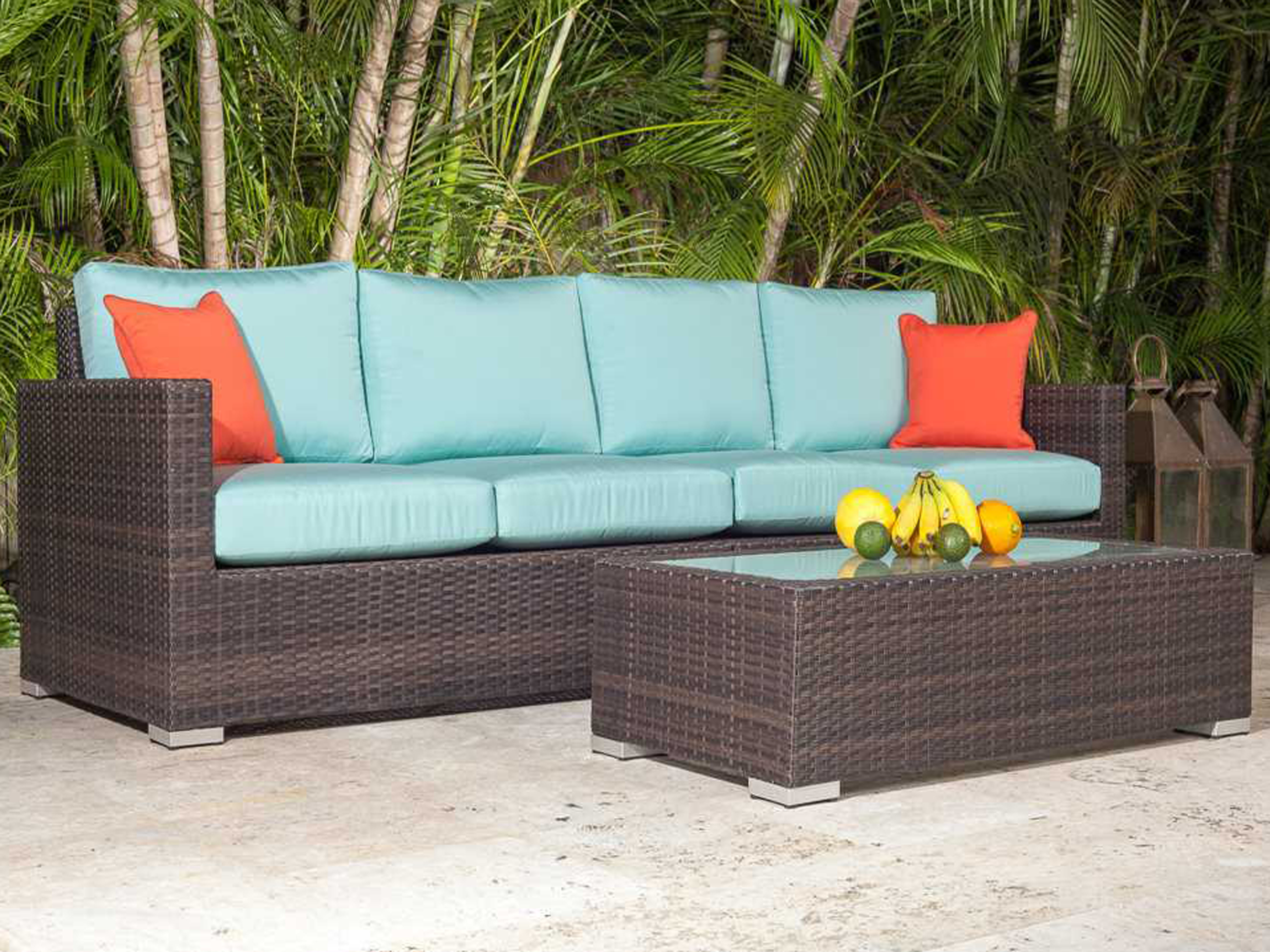 Source Outdoor Furniture Lucaya Wicker Sectional Loveseat Set |  SO 400 37 SET