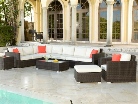 Source Outdoor Furniture Lucaya Wicker Sectional Lounge Set