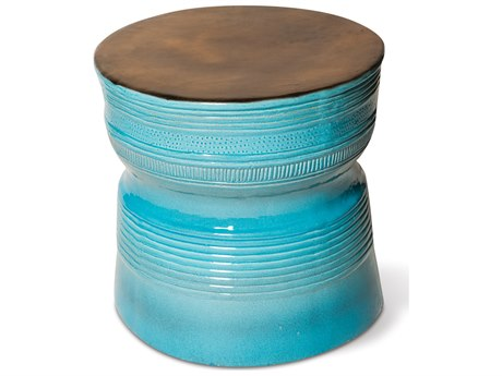 Seasonal Living Ancaris Ring Metallic and Turquoise Blue Ceramic 25'' Wide Round Accent Table SEA308FT225P2MTB