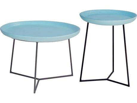 Seasonal Living Link Matte Duck Egg Blue Ceramic Accent Table Set