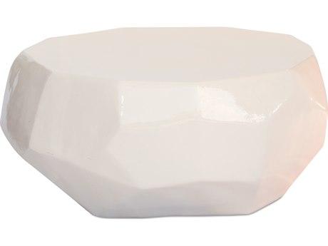Seasonal Living Geo Creamy White Ceramic 38'' Wide Round Coffee Table